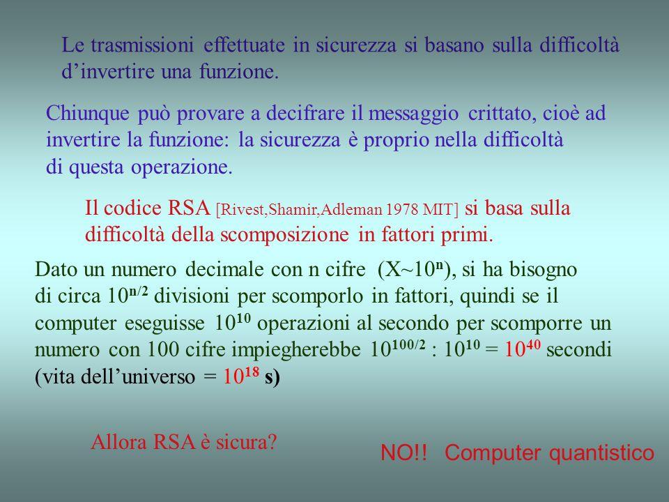Crittografia quantistica 1)Ogni misura perturba il sistema 2)Non si può duplicare uno stato quantistico ignoto (no cloning theorem) 3) Non si può misu