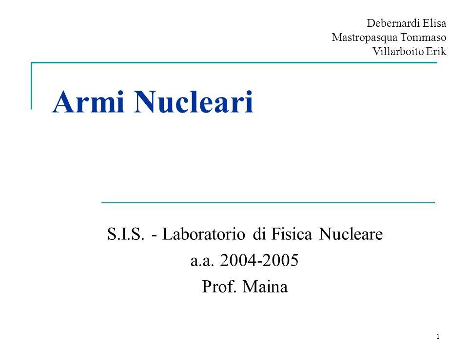 1 Armi Nucleari S.I.S. - Laboratorio di Fisica Nucleare a.a. 2004-2005 Prof. Maina Debernardi Elisa Mastropasqua Tommaso Villarboito Erik
