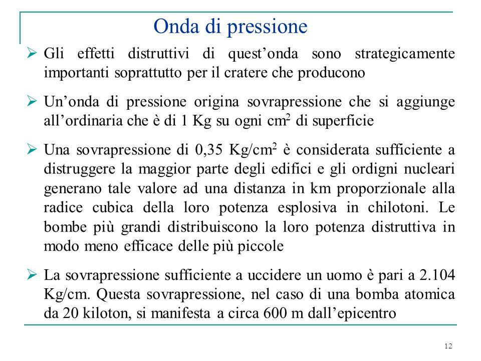 12 Onda di pressione Gli effetti distruttivi di questonda sono strategicamente importanti soprattutto per il cratere che producono Unonda di pressione