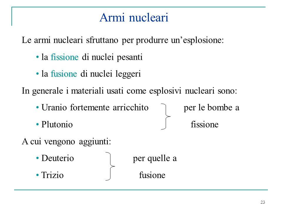 23 Armi nucleari Le armi nucleari sfruttano per produrre unesplosione: fissione la fissione di nuclei pesanti fusione la fusione di nuclei leggeri In