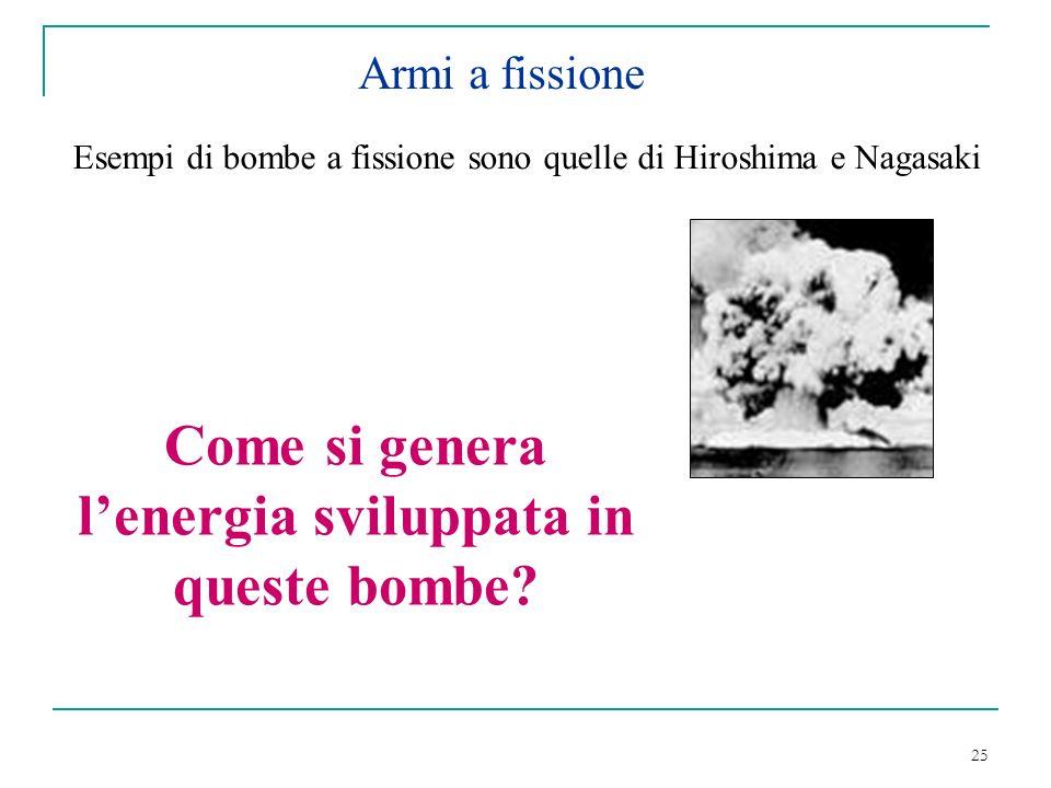 25 Armi a fissione Esempi di bombe a fissione sono quelle di Hiroshima e Nagasaki Come si genera lenergia sviluppata in queste bombe?