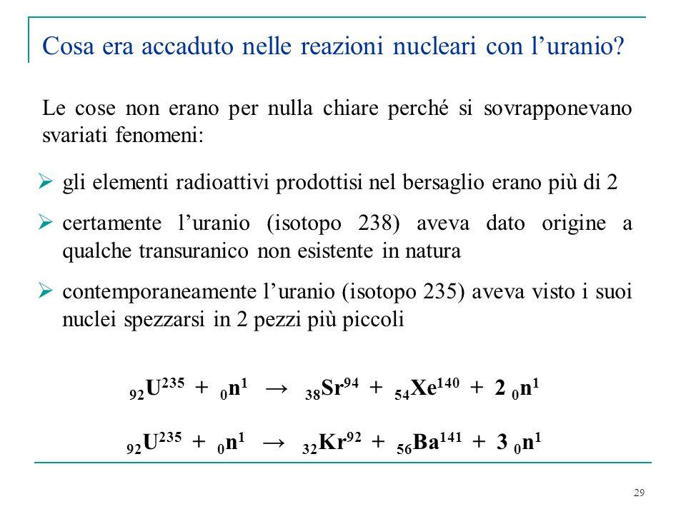 29 gli elementi radioattivi prodottisi nel bersaglio erano più di 2 certamente luranio (isotopo 238) aveva dato origine a qualche transuranico non esi
