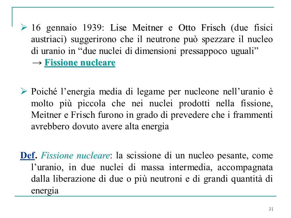 31 Lise MeitnerOtto Frisch 16 gennaio 1939: Lise Meitner e Otto Frisch (due fisici austriaci) suggerirono che il neutrone può spezzare il nucleo di ur
