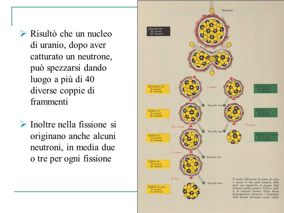 32 Risultò che un nucleo di uranio, dopo aver catturato un neutrone, può spezzarsi dando luogo a più di 40 diverse coppie di frammenti Inoltre nella f