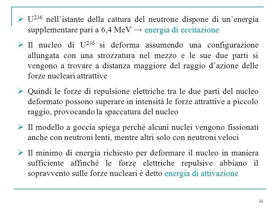 36 energia di eccitazione U 236 nellistante della cattura del neutrone dispone di unenergia supplementare pari a 6,4 MeV energia di eccitazione Il nuc