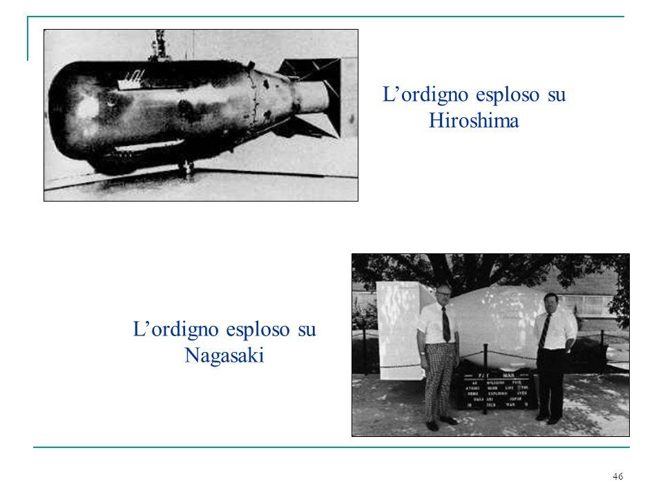 46 Lordigno esploso su Hiroshima Lordigno esploso su Nagasaki