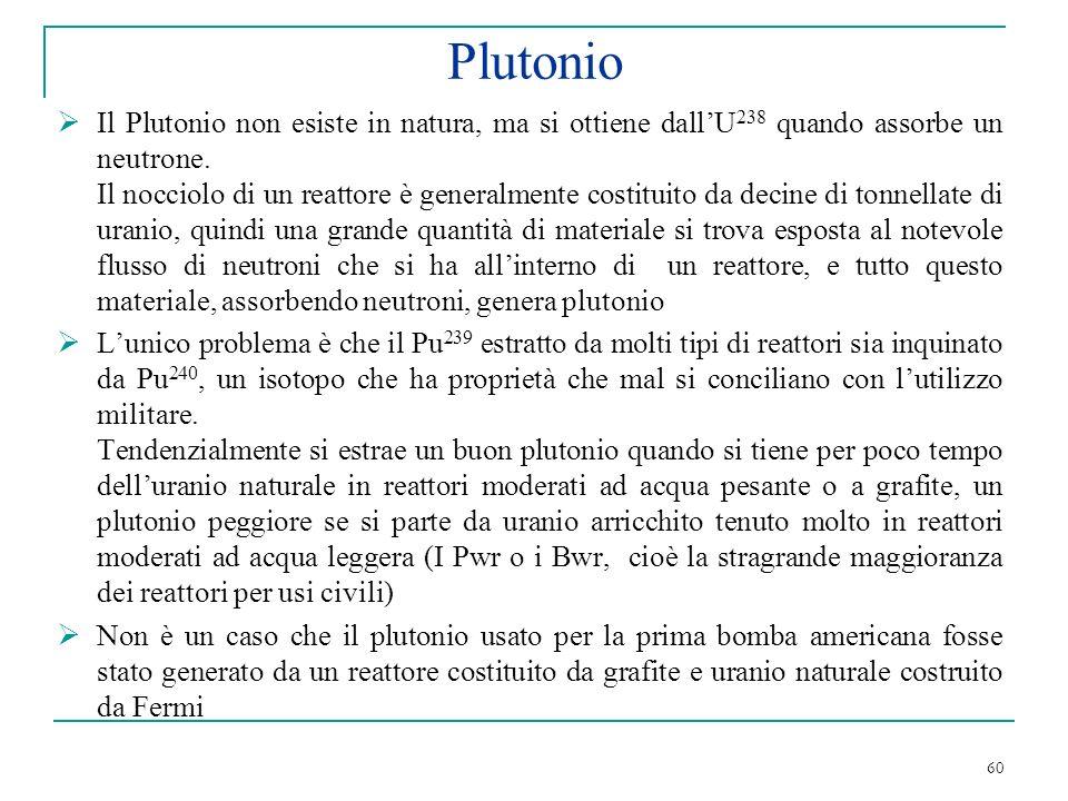 60 Plutonio Il Plutonio non esiste in natura, ma si ottiene dallU 238 quando assorbe un neutrone. Il nocciolo di un reattore è generalmente costituito