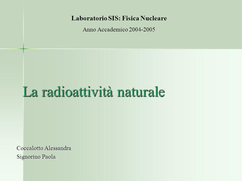 La radioattività naturale Coccalotto Alessandra Signorino Paola Laboratorio SIS: Fisica Nucleare Anno Accademico 2004-2005