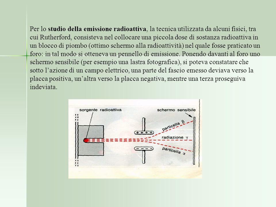 Per lo studio della emissione radioattiva, la tecnica utilizzata da alcuni fisici, tra cui Rutherford, consisteva nel collocare una piccola dose di so