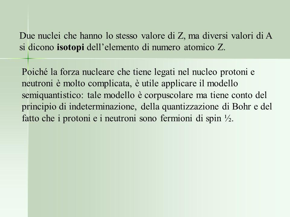 Due nuclei che hanno lo stesso valore di Z, ma diversi valori di A si dicono isotopi dellelemento di numero atomico Z. Poiché la forza nucleare che ti