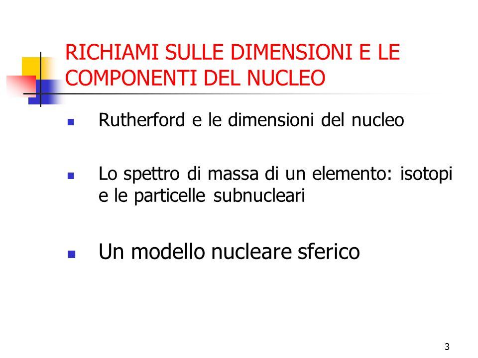 4 UN MODELLO SFERICO: LA GOCCIA La massa è proporzionale ad A: M(A) 930 · A [MeV/c 2 ] Se la densit à della materia nucleare è indipendente da A allora il volume, come la massa, è proporzionale ad A: il raggio della sfera è R=r o A 1/3 con r o =1,5 · 10 -15 m=1,5 fm E la densit à =M/V 1,4 · 10 17 kg/m 3
