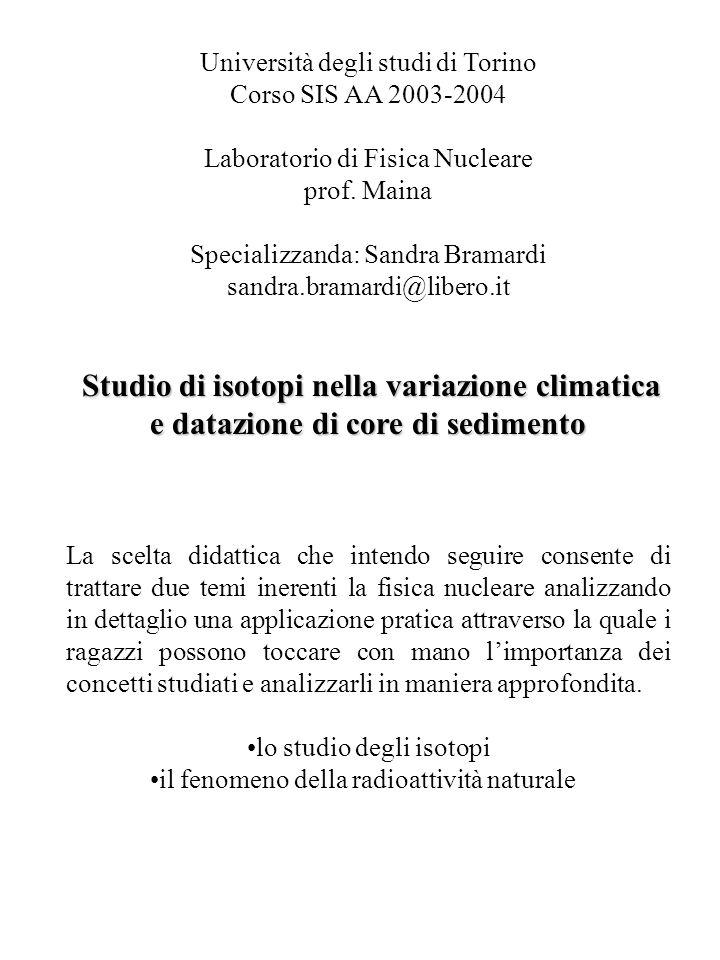 Università degli studi di Torino Corso SIS AA 2003-2004 Laboratorio di Fisica Nucleare prof. Maina Specializzanda: Sandra Bramardi sandra.bramardi@lib