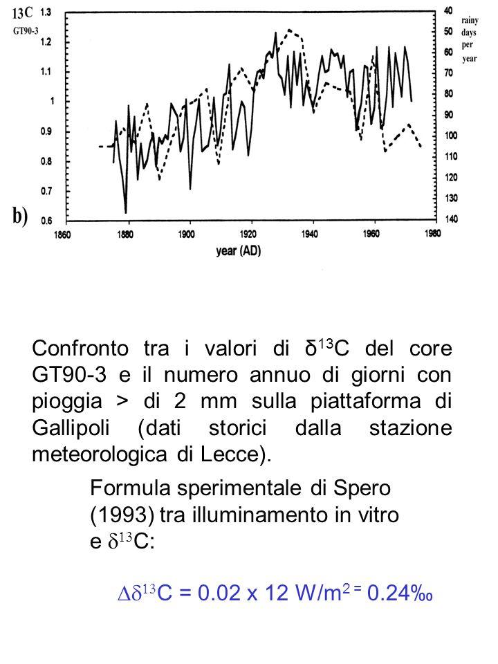 Confronto tra i valori di δ 13 C del core GT90-3 e il numero annuo di giorni con pioggia > di 2 mm sulla piattaforma di Gallipoli (dati storici dalla