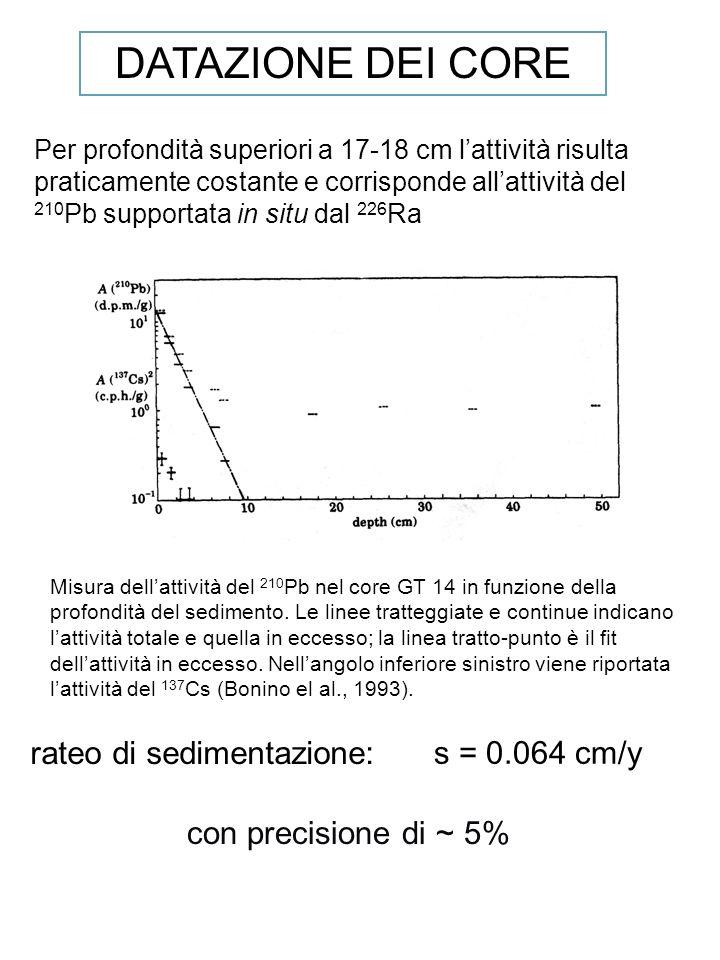 Misura dellattività del 210 Pb nel core GT 14 in funzione della profondità del sedimento. Le linee tratteggiate e continue indicano lattività totale e