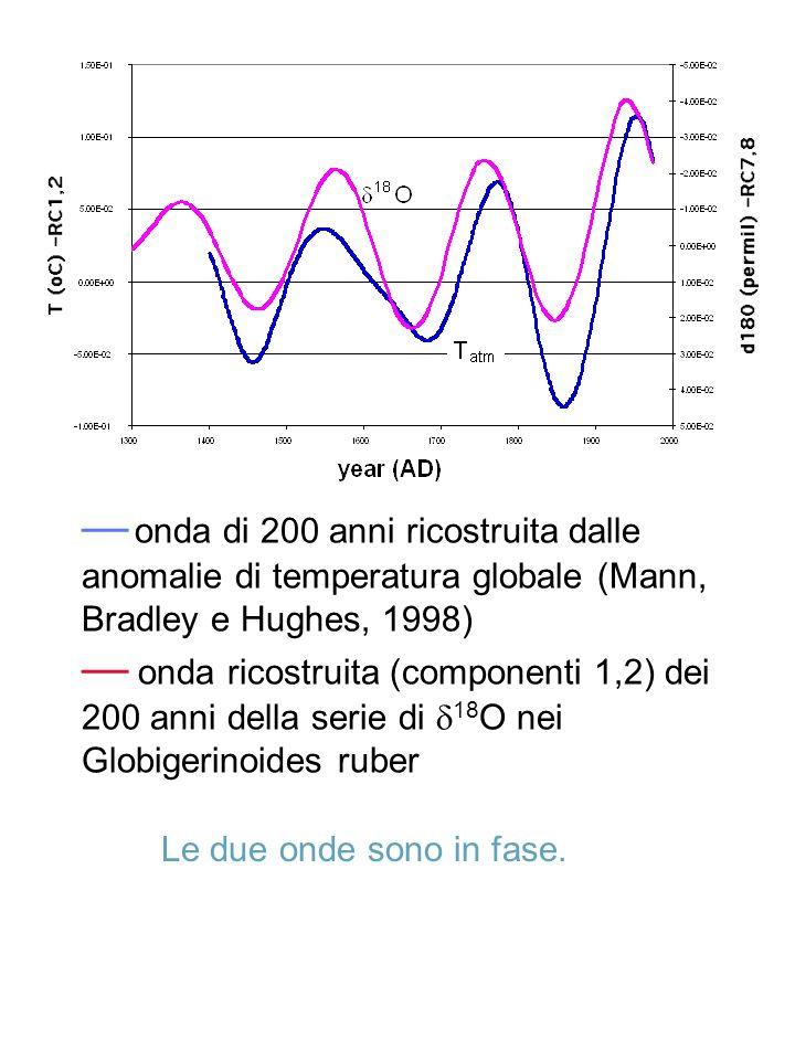 onda di 200 anni ricostruita dalle anomalie di temperatura globale (Mann, Bradley e Hughes, 1998) onda ricostruita (componenti 1,2) dei 200 anni della
