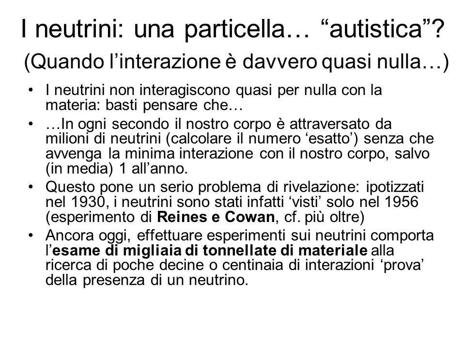 I neutrini: una particella… autistica? (Quando linterazione è davvero quasi nulla…) I neutrini non interagiscono quasi per nulla con la materia: basti