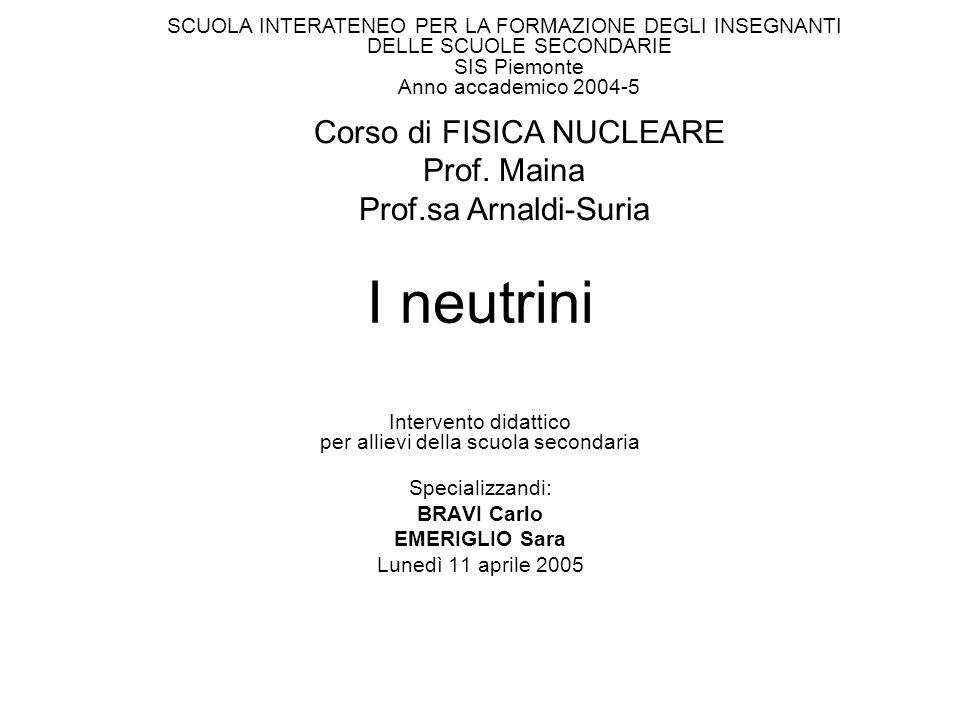 I neutrini Intervento didattico per allievi della scuola secondaria Specializzandi: BRAVI Carlo EMERIGLIO Sara Lunedì 11 aprile 2005 SCUOLA INTERATENE