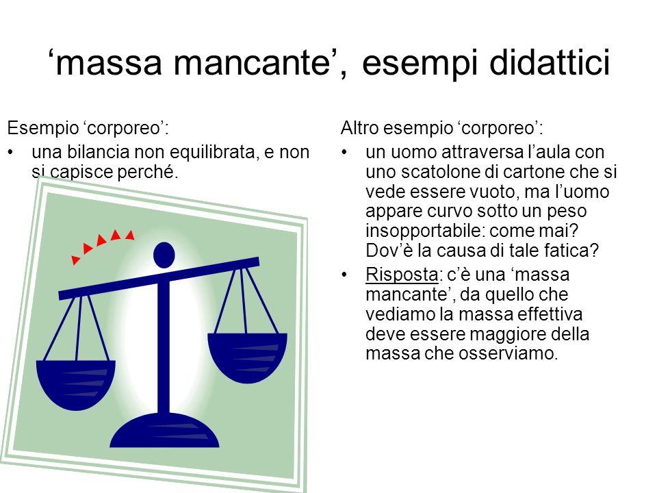 massa mancante, esempi didattici Esempio corporeo: una bilancia non equilibrata, e non si capisce perché. Altro esempio corporeo: un uomo attraversa l