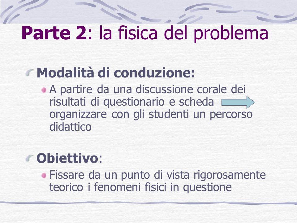 Parte 2: la fisica del problema Modalità di conduzione: A partire da una discussione corale dei risultati di questionario e scheda organizzare con gli