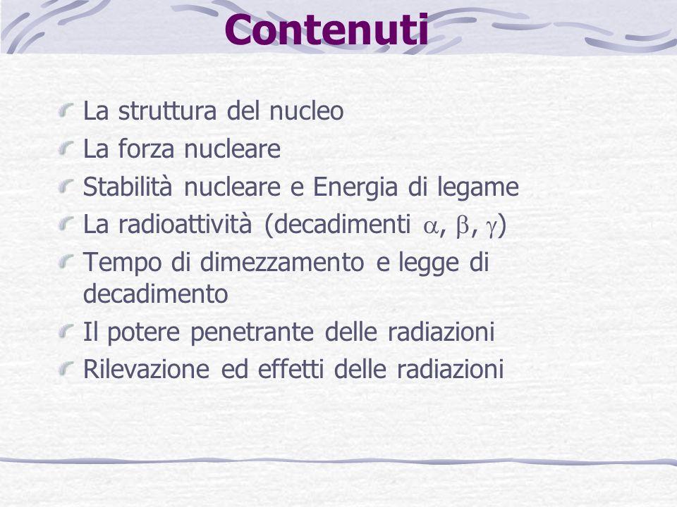 Contenuti La struttura del nucleo La forza nucleare Stabilità nucleare e Energia di legame La radioattività (decadimenti,, ) Tempo di dimezzamento e legge di decadimento Il potere penetrante delle radiazioni Rilevazione ed effetti delle radiazioni