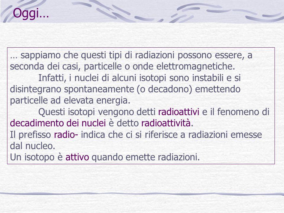 … sappiamo che questi tipi di radiazioni possono essere, a seconda dei casi, particelle o onde elettromagnetiche. Infatti, i nuclei di alcuni isotopi