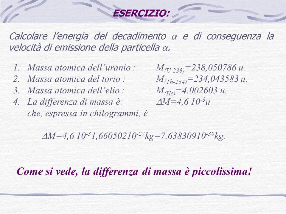 ESERCIZIO: Calcolare lenergia del decadimento e di conseguenza la velocità di emissione della particella. 1.Massa atomica delluranio : M (U-238) =238,