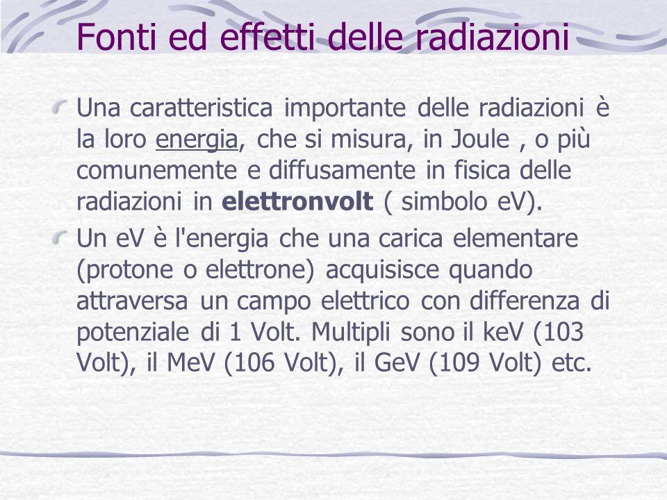 Fonti ed effetti delle radiazioni Una caratteristica importante delle radiazioni è la loro energia, che si misura, in Joule, o più comunemente e diffusamente in fisica delle radiazioni in elettronvolt ( simbolo eV).