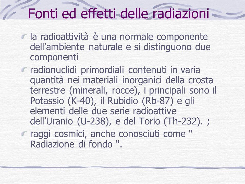 Fonti ed effetti delle radiazioni la radioattività è una normale componente dellambiente naturale e si distinguono due componenti radionuclidi primordiali contenuti in varia quantità nei materiali inorganici della crosta terrestre (minerali, rocce), i principali sono il Potassio (K-40), il Rubidio (Rb-87) e gli elementi delle due serie radioattive dellUranio (U-238), e del Torio (Th-232).