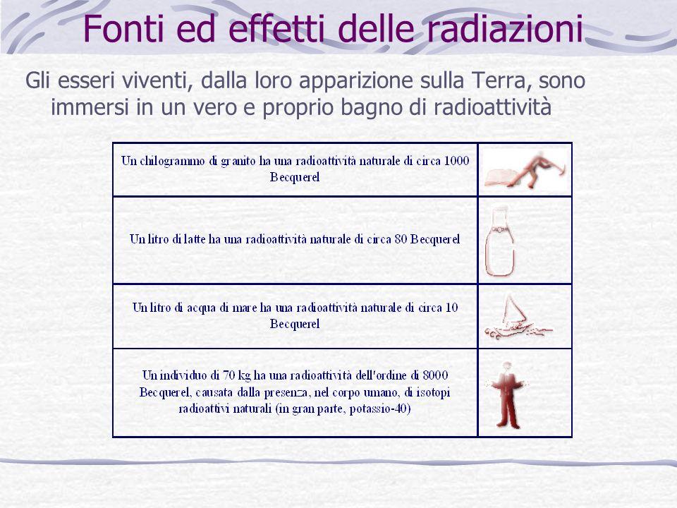 Fonti ed effetti delle radiazioni Gli esseri viventi, dalla loro apparizione sulla Terra, sono immersi in un vero e proprio bagno di radioattività