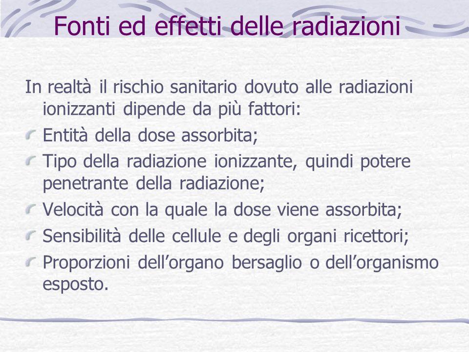 In realtà il rischio sanitario dovuto alle radiazioni ionizzanti dipende da più fattori: Entità della dose assorbita; Tipo della radiazione ionizzante