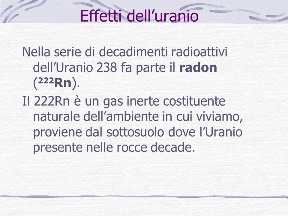 Effetti delluranio Nella serie di decadimenti radioattivi dellUranio 238 fa parte il radon ( 222 Rn). Il 222Rn è un gas inerte costituente naturale de
