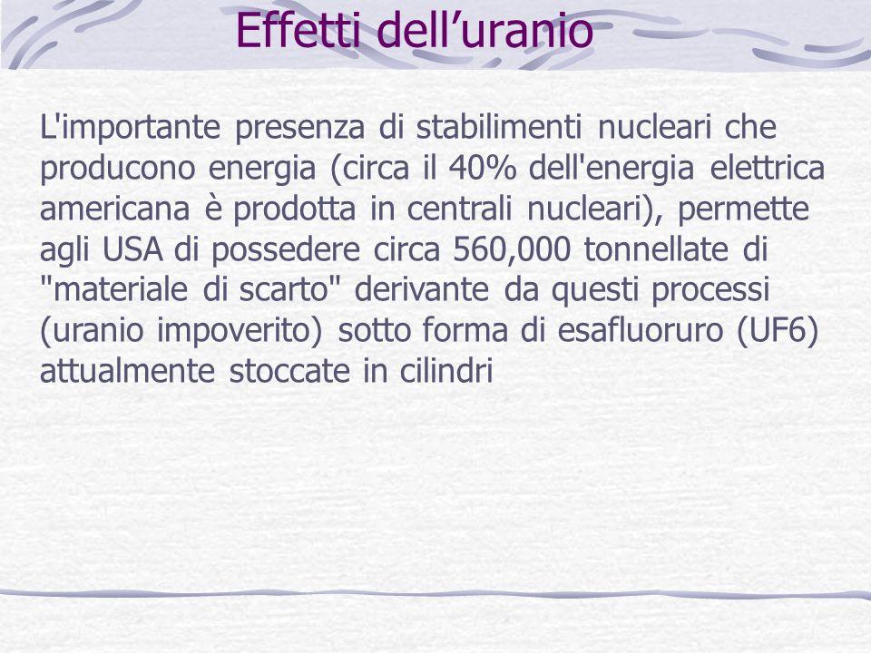 Effetti delluranio L'importante presenza di stabilimenti nucleari che producono energia (circa il 40% dell'energia elettrica americana è prodotta in c