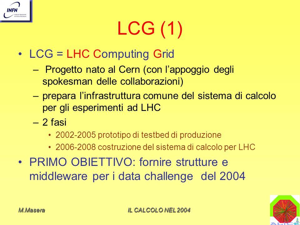 M.MaseraIL CALCOLO NEL 2004 LCG (1) LCG = LHC Computing Grid – Progetto nato al Cern (con lappoggio degli spokesman delle collaborazioni) –prepara linfrastruttura comune del sistema di calcolo per gli esperimenti ad LHC –2 fasi 2002-2005 prototipo di testbed di produzione 2006-2008 costruzione del sistema di calcolo per LHC PRIMO OBIETTIVO: fornire strutture e middleware per i data challenge del 2004