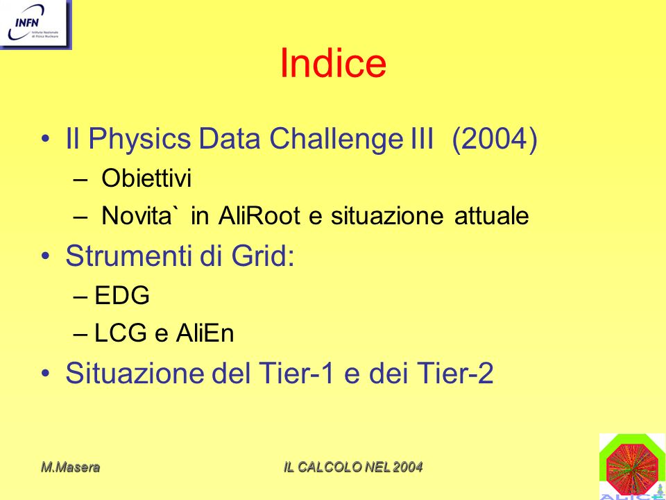 M.MaseraIL CALCOLO NEL 2004 Period (milestone) Fraction of the final capacity (%) Physics Objective 06/01-12/011%pp studies, reconstruction of TPC and ITS 06/02-12/025%First test of the complete chain from simulation to reconstruction for the PPR Simple analysis tools.