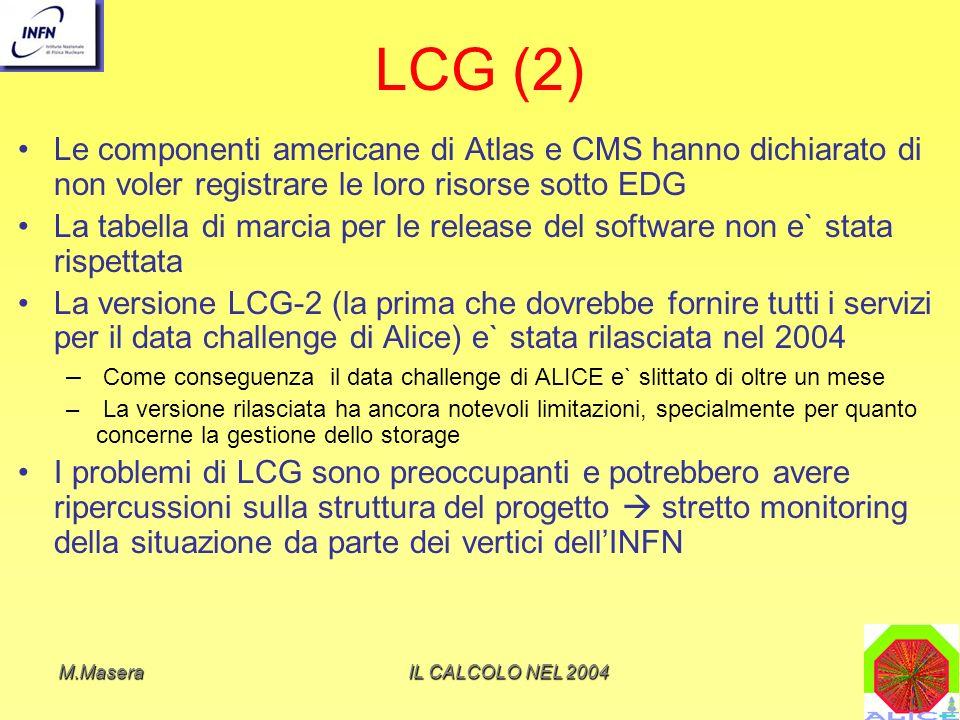 M.MaseraIL CALCOLO NEL 2004 LCG (2) Le componenti americane di Atlas e CMS hanno dichiarato di non voler registrare le loro risorse sotto EDG La tabella di marcia per le release del software non e` stata rispettata La versione LCG-2 (la prima che dovrebbe fornire tutti i servizi per il data challenge di Alice) e` stata rilasciata nel 2004 – Come conseguenza il data challenge di ALICE e` slittato di oltre un mese – La versione rilasciata ha ancora notevoli limitazioni, specialmente per quanto concerne la gestione dello storage I problemi di LCG sono preoccupanti e potrebbero avere ripercussioni sulla struttura del progetto stretto monitoring della situazione da parte dei vertici dellINFN