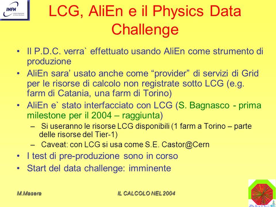 M.MaseraIL CALCOLO NEL 2004 LCG, AliEn e il Physics Data Challenge Il P.D.C.