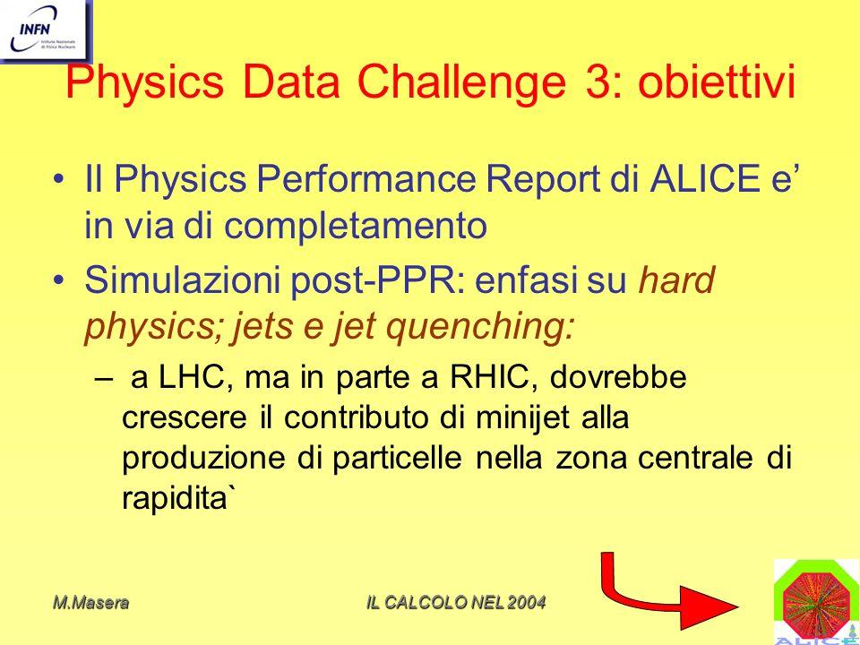 M.MaseraIL CALCOLO NEL 2004 Physics Data Challenge 3: obiettivi signal-freeUna semplice parametrizzazione signal-free di un modello microscopico non puo` essere usata a causa dellassenza di fluttuazioni dovute alla produzione di jet e minijet E` necessario far ricorso a generatori di eventi come HIJING, che includano la produzione di jet, anche per la simulazione dei cosiddetti eventi di background usati con levent mixing per simulare fenomeni a bassa sezione durto A p T ~10-20 GeV/c ci si aspetta~1 jet per evento Studio di jet con p T ~ qualche 10 GeV/c: questo compito non e` semplice ed e` basato sullo studio della struttura dellevento, e sulla ricerca di leading particles ad alto p T nel barrel.