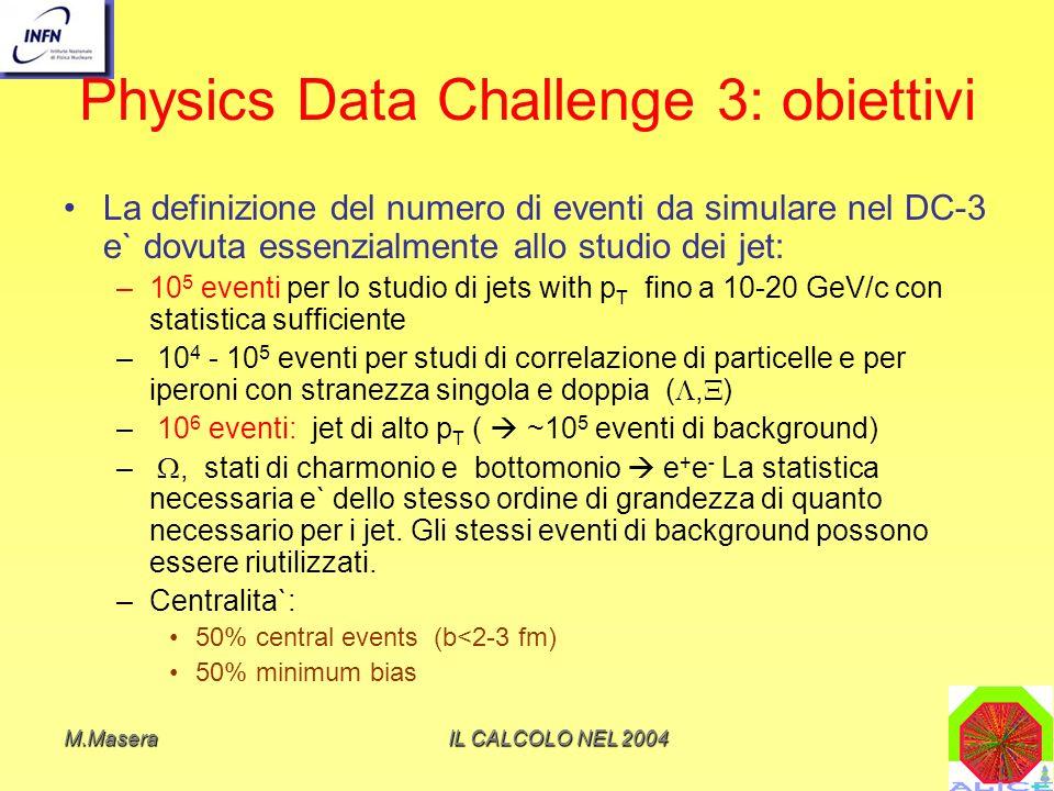 M.MaseraIL CALCOLO NEL 2004 Physics Data Challenge 3: obiettivi Oltre a simulazioni Pb-Pb: 10 7 eventi p-p (Pythia) e ~10 6 p-A (Hijing) Il DC serve anche per verificare la capacita` di simulare e soprattutto analizzare una mole di dati ~10% di quella da trattare a regime con le tecnologie informatiche a disposizione ricaduta su framework e middleware La durata del DC e` di 6 mesi: la Collaborazione vuole verificare quanti eventi e in grado si simulare e analizzare (in modalita` diretta o con mixing) in questo periodo sfruttando sia risorse proprie che risorse disponibili nellambito LCG Parte dei dati simulati sara` portata al Cern e di qui redistribuita per lanalisi distribuito È un test del framework offline e del modello di calcolo distribuito