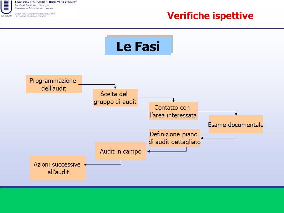 Programmazione dellaudit Scelta del gruppo di audit Contatto con larea interessata Esame documentale Definizione piano di audit dettagliato Audit in c
