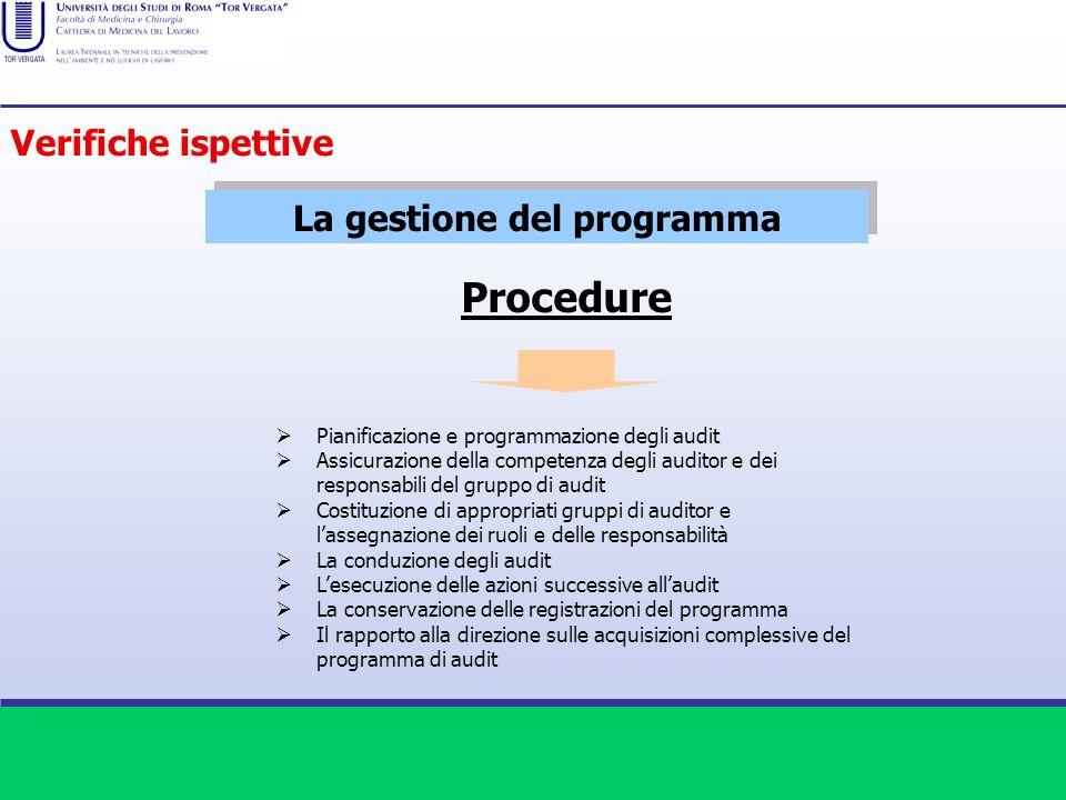 La gestione del programma Procedure Pianificazione e programmazione degli audit Assicurazione della competenza degli auditor e dei responsabili del gr