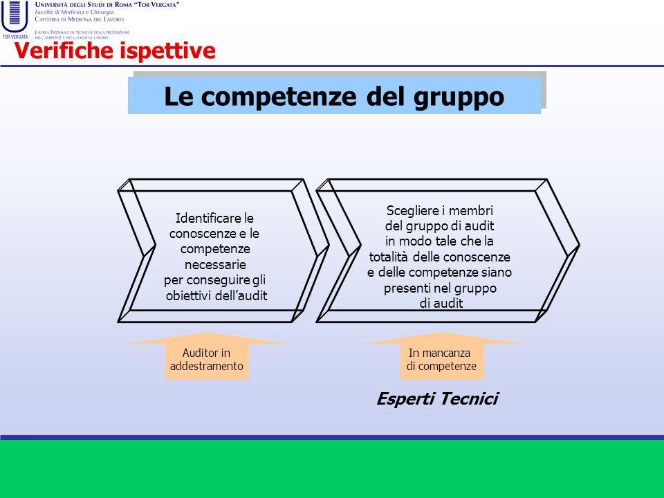 Le competenze del gruppo Identificare le conoscenze e le competenze necessarie per conseguire gli obiettivi dellaudit Scegliere i membri del gruppo di