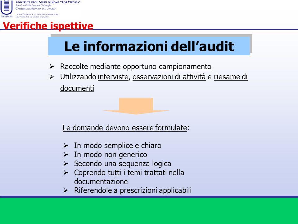 Le informazioni dellaudit Raccolte mediante opportuno campionamento Utilizzando interviste, osservazioni di attività e riesame di documenti Le domande