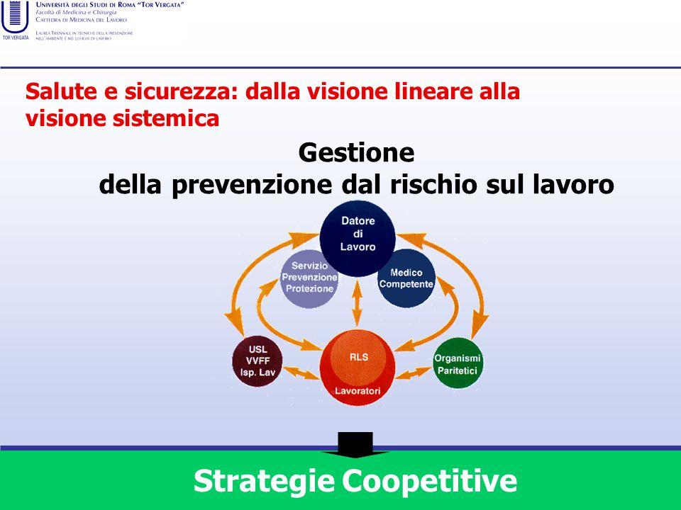 Gestione della prevenzione dal rischio sul lavoro Strategie Coopetitive Salute e sicurezza: dalla visione lineare alla visione sistemica