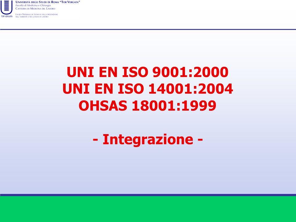 UNI EN ISO 9001:2000 UNI EN ISO 14001:2004 OHSAS 18001:1999 - Integrazione -