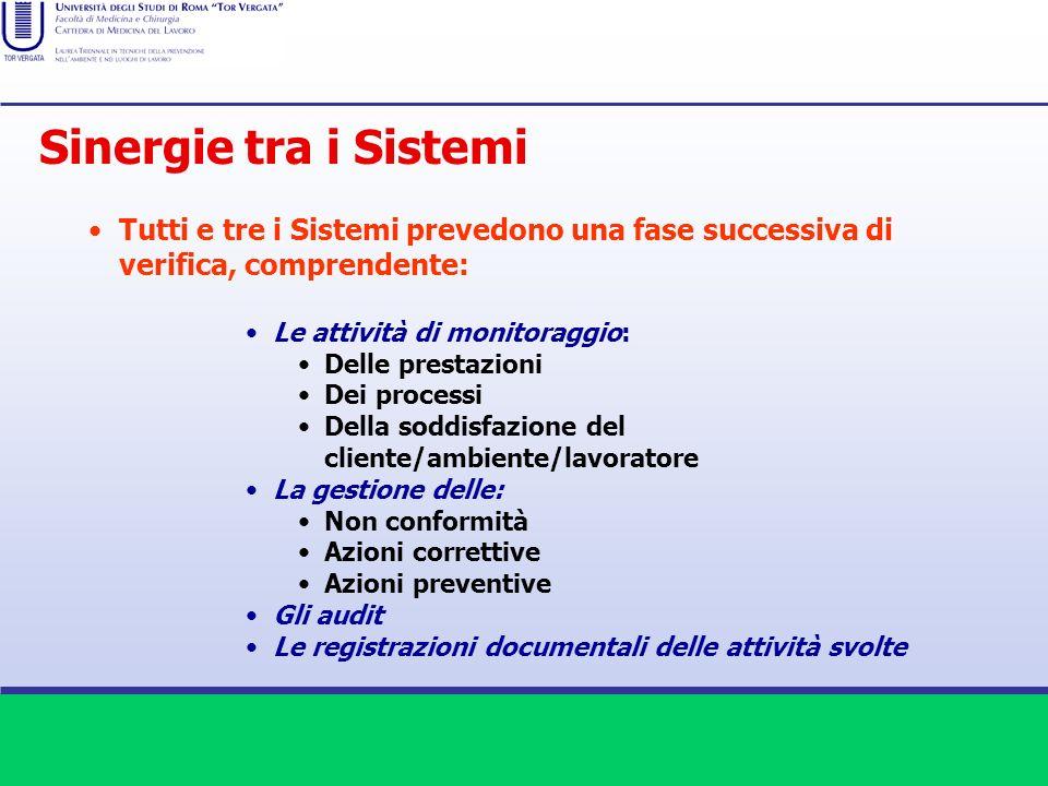 Tutti e tre i Sistemi prevedono una fase successiva di verifica, comprendente: Le attività di monitoraggio: Delle prestazioni Dei processi Della soddi