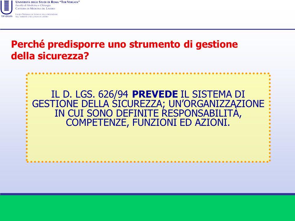 IL D. LGS. 626/94 PREVEDE IL SISTEMA DI GESTIONE DELLA SICUREZZA; UNORGANIZZAZIONE IN CUI SONO DEFINITE RESPONSABILITÀ, COMPETENZE, FUNZIONI ED AZIONI
