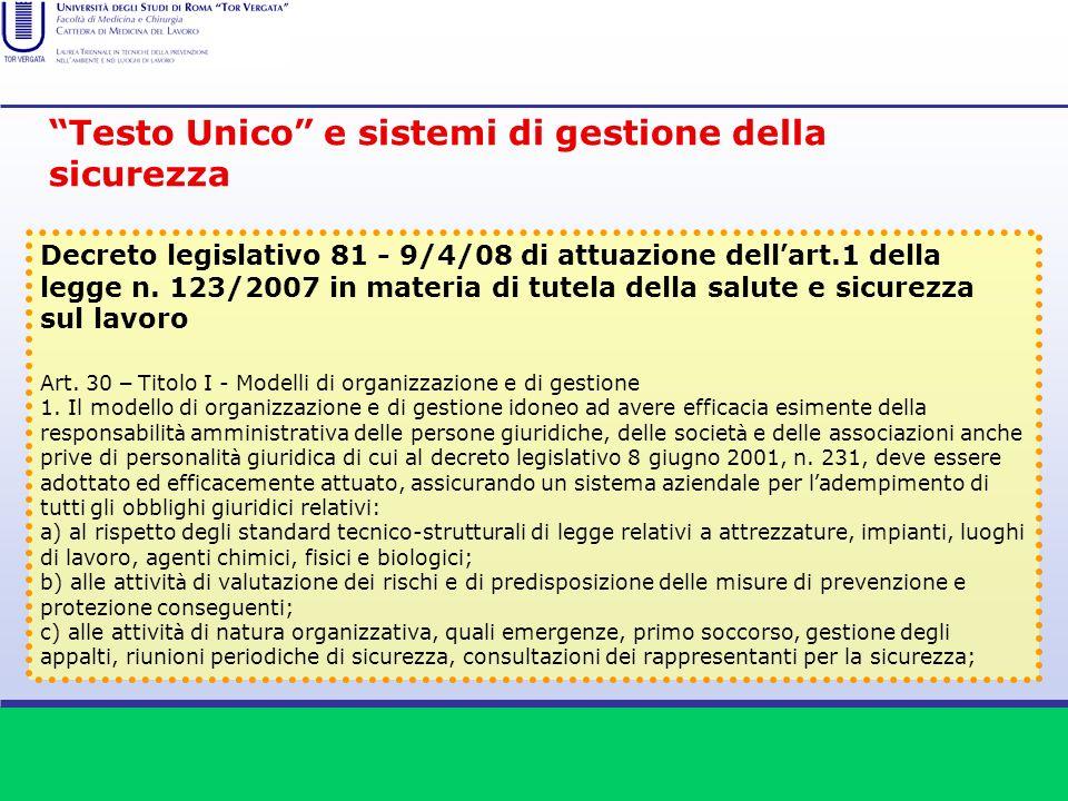 Testo Unico e sistemi di gestione della sicurezza Decreto legislativo 81 - 9/4/08 di attuazione dell art.1 della legge n. 123/2007 in materia di tutel