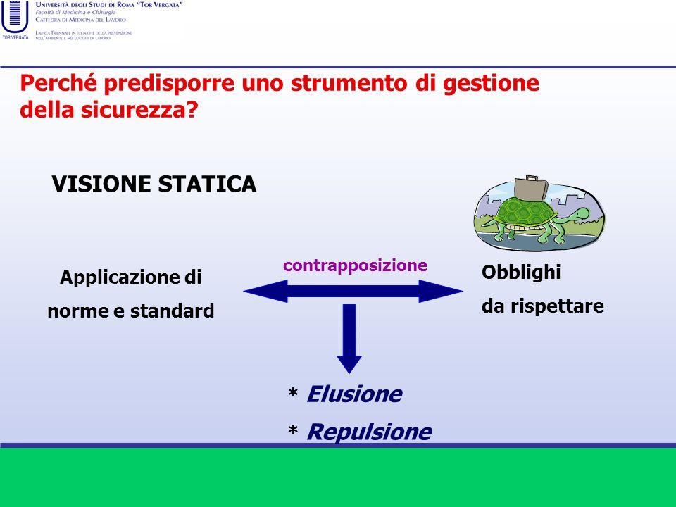 VISIONE STATICA Applicazione di norme e standard Obblighi da rispettare * Elusione * Repulsione contrapposizione Perché predisporre uno strumento di g
