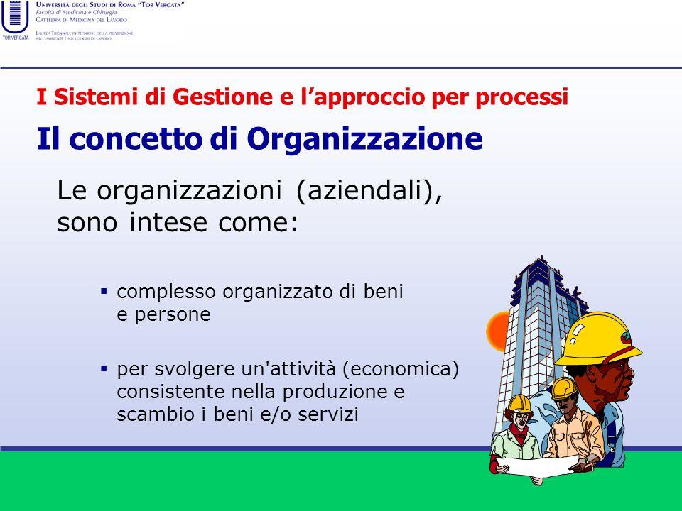Le organizzazioni (aziendali), sono intese come: complesso organizzato di beni e persone per svolgere un'attivit à (economica) consistente nella produ