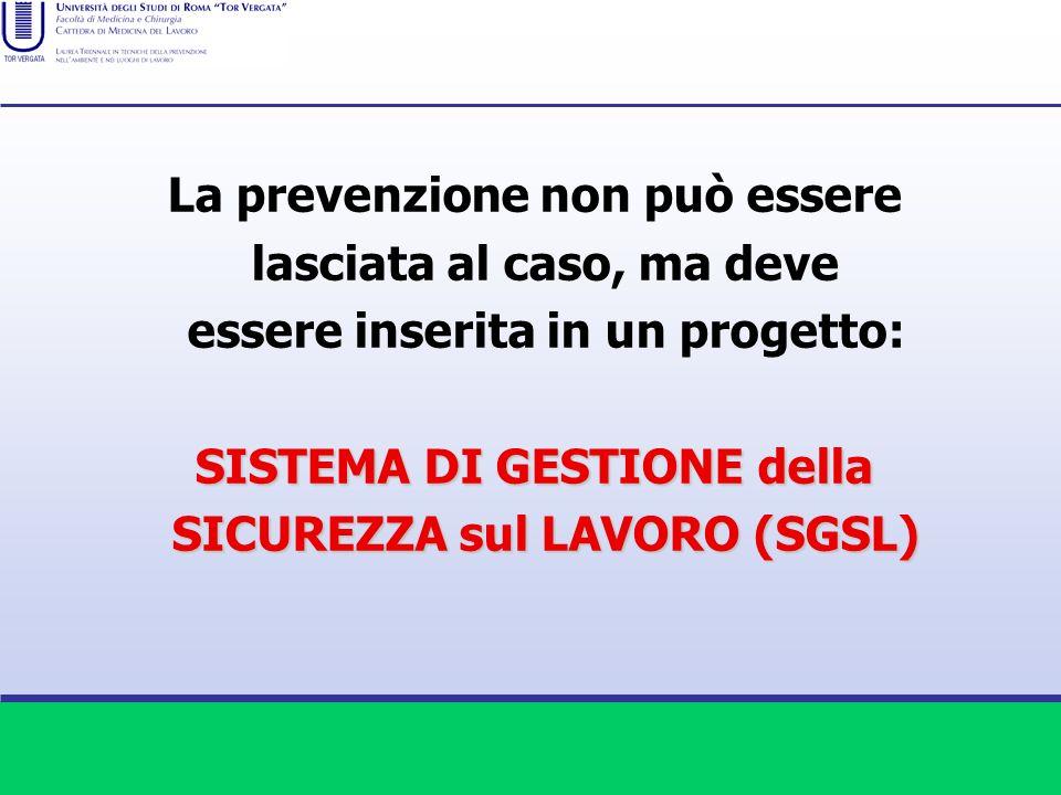 La prevenzione non può essere lasciata al caso, ma deve essere inserita in un progetto: SISTEMA DI GESTIONE della SICUREZZA sul LAVORO (SGSL)